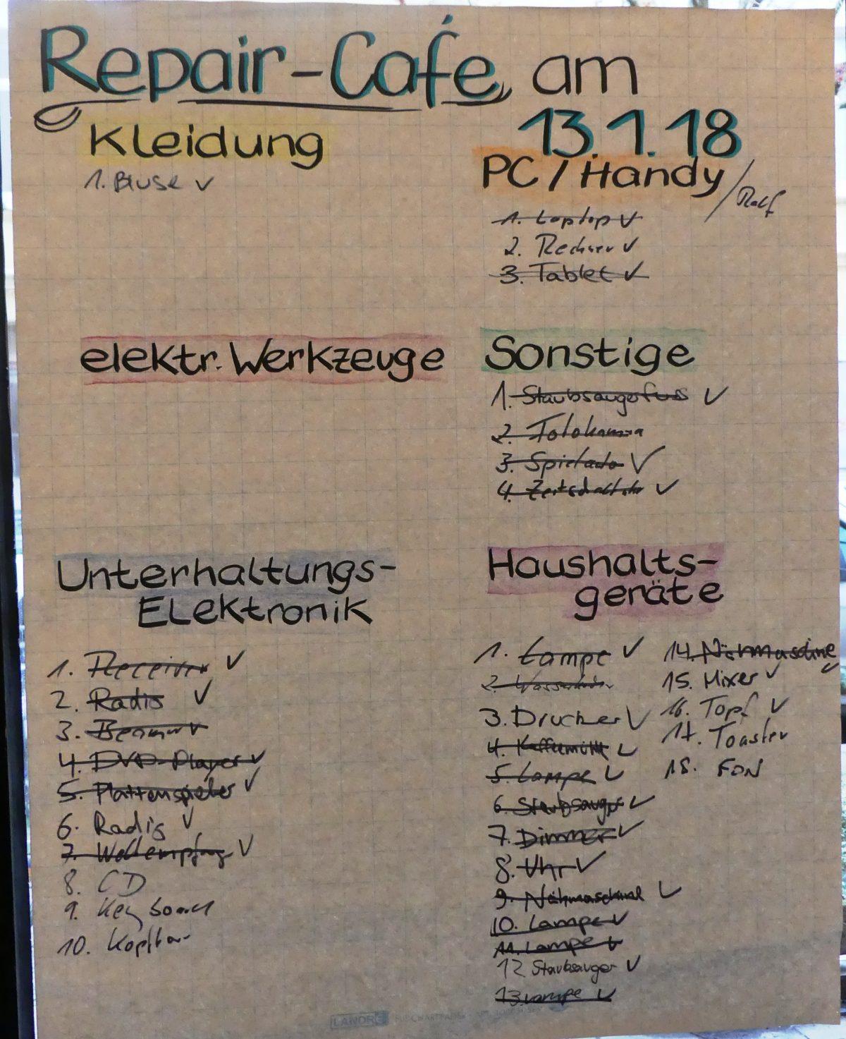 Rückblick Repair-Cafe 13.01.2018